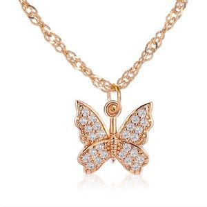 ✨ 2/$20 Crystal Butterfly Pendant Necklace